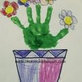 okul öncesi el baskısı çiçek