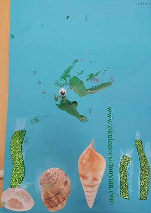 okul öncesi el baskısı balık örnekleri