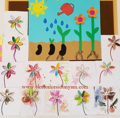 okul öncesi rulodan çiçek etkinlik