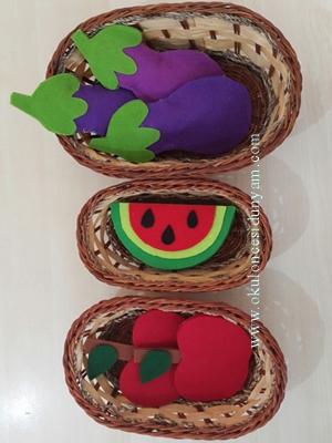 okul öncesi keçeden meyve sebze
