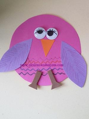 okul öncesi baykuş sanat etkinliği