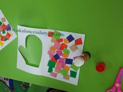 okul öncesi eldiven sanat etkinliği