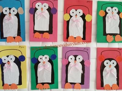 okul öncesi penguen sanat etkinliği
