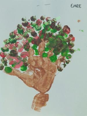 okul öncesi ağaç sanat etkinliği