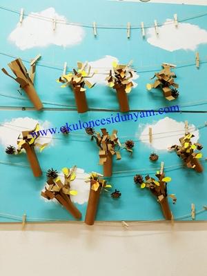 Boyutlu Sonbahar Ağacı Okul öncesi Dünyam