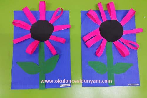 Okul Öncesi Şeritler Çiçek Etkinliği