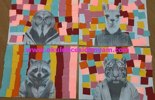 Okul Öncesi Kıyafet Giymiş Hayvanlar